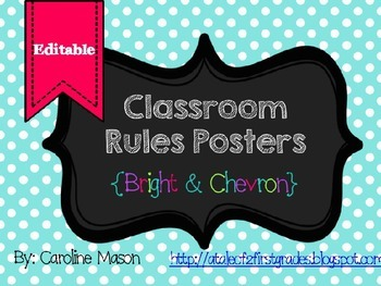 EDITABLE Bright Chevron Classroom Rules Posters