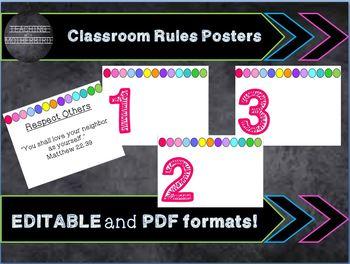 EDITABLE Bright Classroom Rules Set