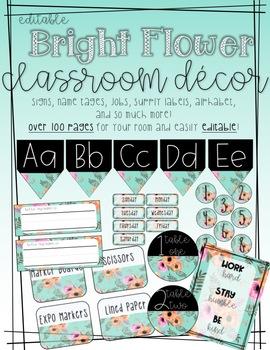 EDITABLE Bright Floral Classroom Decor