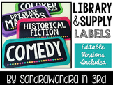 EDITABLE Bright Library and Supply Labels