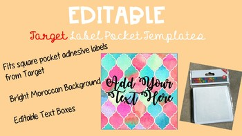 EDITABLE Bright Moroccan Style Target Adhesive Labels