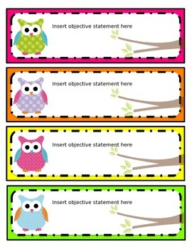 EDITABLE Bright Owl cards/tags