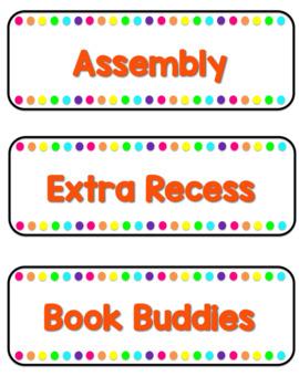 EDITABLE Bright Rainbow Schedule Cards