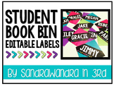 EDITABLE Bright Student Book Bin Labels