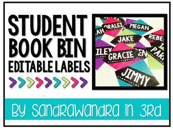 EDITABLE Bright Student Book Bin Labels