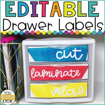 EDITABLE Bright and Happy Drawer Labels for Classroom Organization
