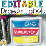 EDITABLE Bright and Happy Drawer Labels for Classroom Orga
