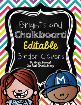 EDITABLE Brights and Chalkboard Binder Covers and Spines