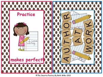 Word Wall Labels and Decor Packet:EDITABLE (Brown Polka Dot)