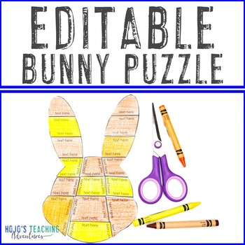 EDITABLE Bunny Puzzle - Make your own Easter Activities for Math, Literacy, +++