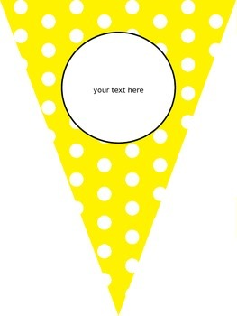 EDITABLE Bunting Banner - rainbow colors w/ white polka dots
