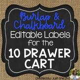 EDITABLE Burlap & Chalkboard Labels for the 10 Drawer Cart