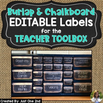EDITABLE Burlap & Chalkboard Teacher Toolbox Labels