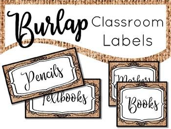 Burlap Labels Classroom Decor