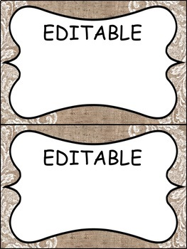 EDITABLE Burlap Labels for the classroom