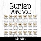 EDITABLE Burlap Word Wall