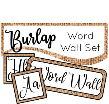 Burlap Word Wall Set Classroom Decor