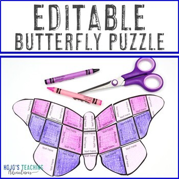 EDITABLE Butterfly Puzzle | Create your own SPRING ACTIVITIES on ANY topic!