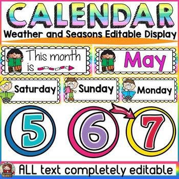 EDITABLE CALENDAR WEATHER AND SEASONS DISPLAY: CLASS DECOR: READING THEME