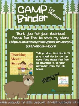 EDITABLE! CAMP Binder - For Teachers