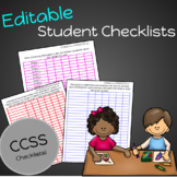 EDITABLE CCSS Checklists by Standard for Tracking Student Data - Kindergarten