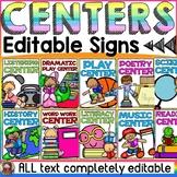 EDITABLE CENTER SIGNS: CLASS DECOR: READING THEME