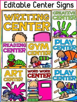 EDITABLE CENTER SIGNS: CLASS DECOR: READING THEME