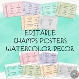 EDITABLE-CHAMPS Posters-Watercolor Decor