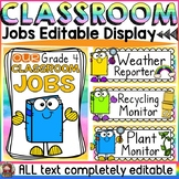 EDITABLE CLASSROOM JOBS: CLASS DECOR: READING THEME
