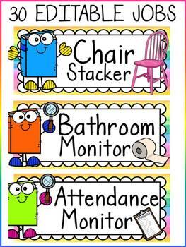 EDITABLE CLASSROOM JOBS: CLASS DECOR: READING THEME