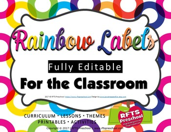 EDITABLE CLASSROOM LABELS (RAINBOW) EDIT IN  POWERPOINT