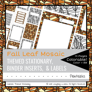 editable colorable fall leaf stationary labels binder inserts blank