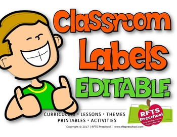 EDITABLE COLORFUL CLASSROOM LABELS-CRAYON STYLE