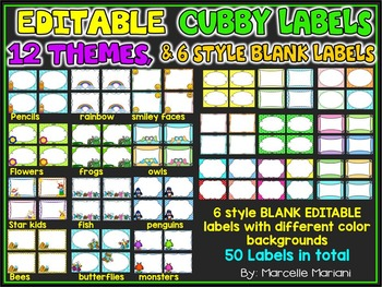 EDITABLE CUBBY TAGS- CUBBY LABELS, 12 THEMES AND 50 BLANK LABELS
