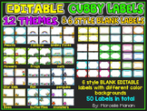 EDITABLE CUBBY LABELS- CUBBY TAGS, 12 THEMES AND 50 BLANK LABELS
