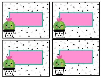 EDITABLE Cacti Door Decor Posters & Name Tags- Classroom Decor