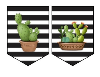 EDITABLE Cactus Banners for Bulletin Boards