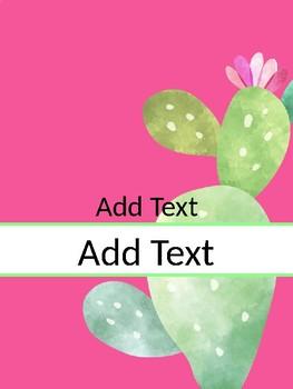 Cactus Teacher Binder Tabs & Inspirational Quotes EDITABLE