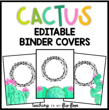 EDITABLE Cactus Binder Covers