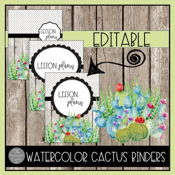 EDITABLE Cactus Binder Covers and Spines
