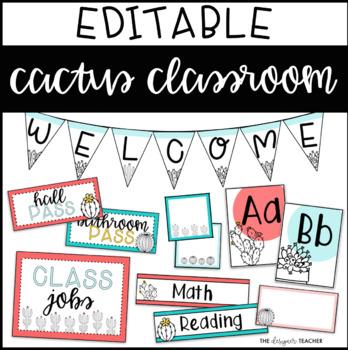 Cactus Classroom Decor Pack EDITABLE