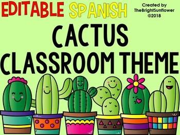 EDITABLE Cactus Classroom Theme in SPANISH