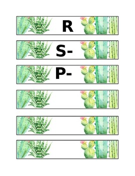 EDITABLE Cactus Library Labels- Target Dollar Spot Rectangle Adhesive Pockets