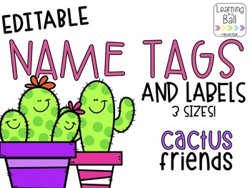 EDITABLE Cactus Name Tags & Labels