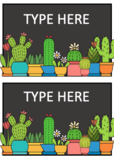 EDITABLE Cactus Themed Classroom Labels