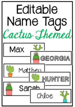 EDITABLE Cactus Themed Name Tags