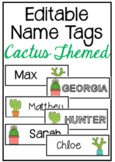 EDITABLE Cactus Themed Name Tags
