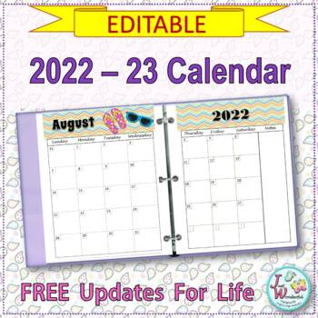 EDITABLE Calendar 2017-2018:  FREE updates for life - Two Pages per Month