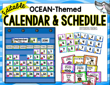 EDITABLE Calendar & Schedule: Ocean- themed