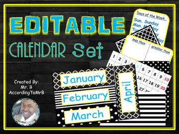 EDITABLE Calendar Set